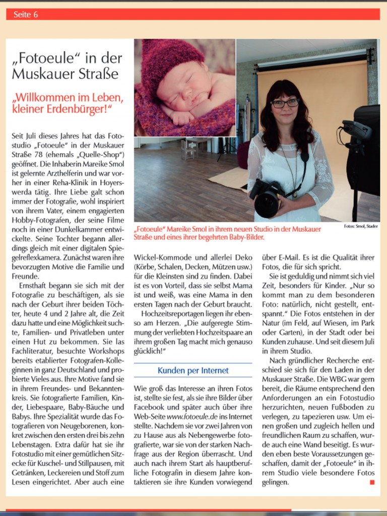 Fotoeule Fotostudio Weißwasser Mareike Smol Vorstellung Neueröffnung in der WBG-Zeitschrift September 2013